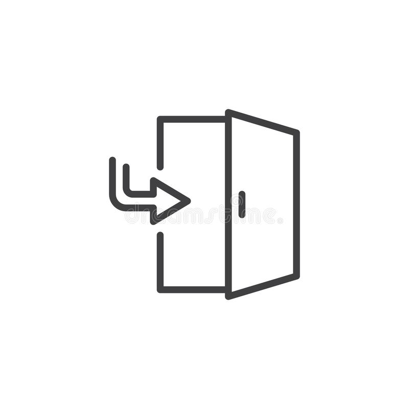 Ícone do esboço da porta de saída ilustração stock