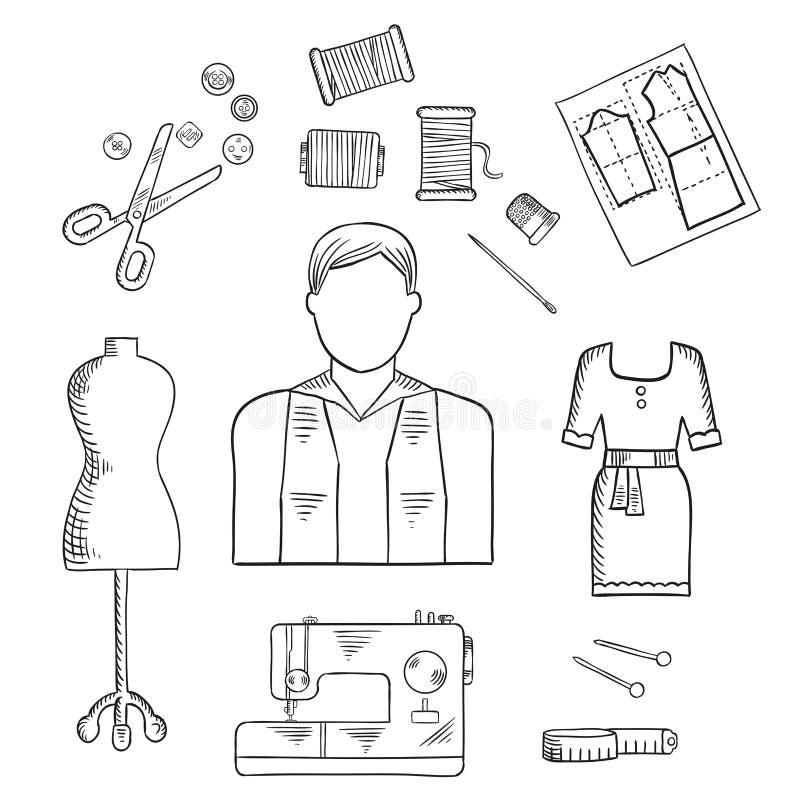 Ícone do esboço da profissão do alfaiate ou do desenhador de moda ilustração stock