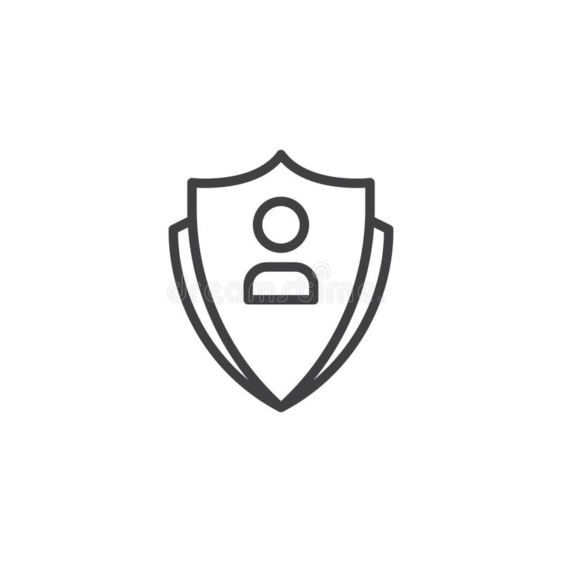 Ícone do esboço da proteção da conta de utilizador ilustração royalty free