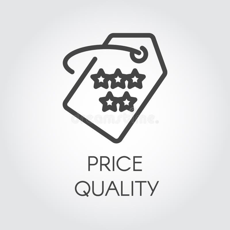Ícone do esboço da qualidade do preço Imagem gráfica linear gráfica para ofertas, discontos, vendas, sexta-feira preta e outras n ilustração stock