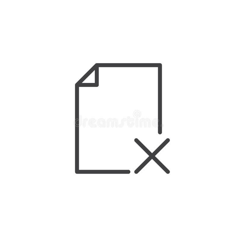 Ícone do esboço da supressão do arquivo ilustração do vetor
