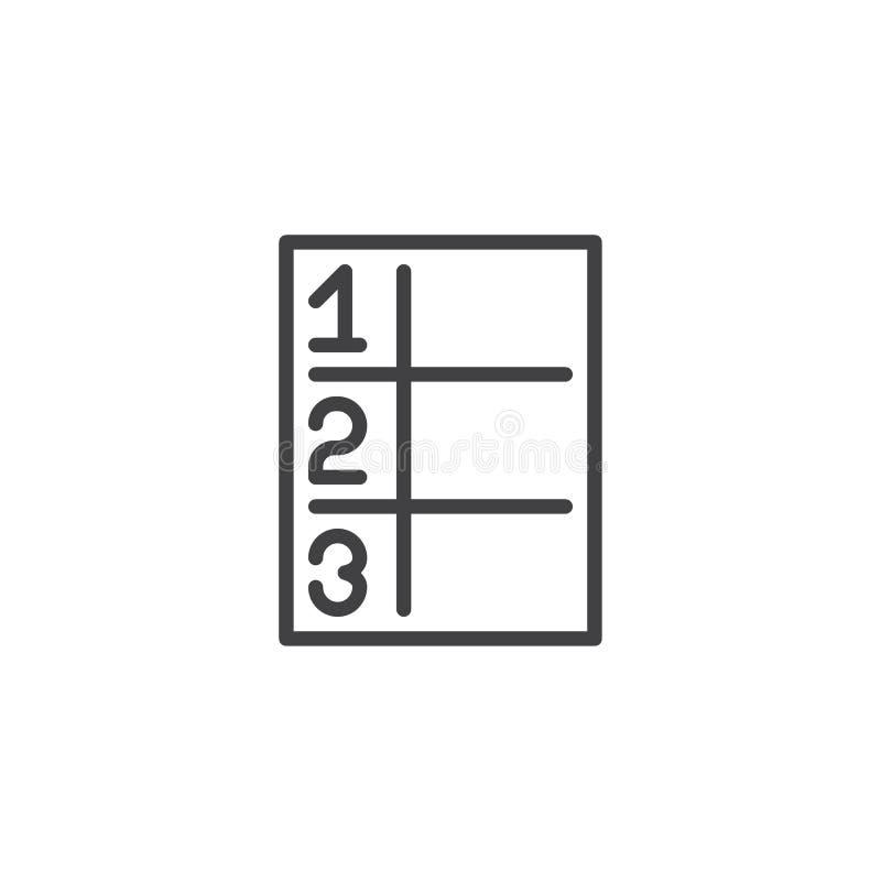 Ícone do esboço da tabela da matemática ilustração do vetor