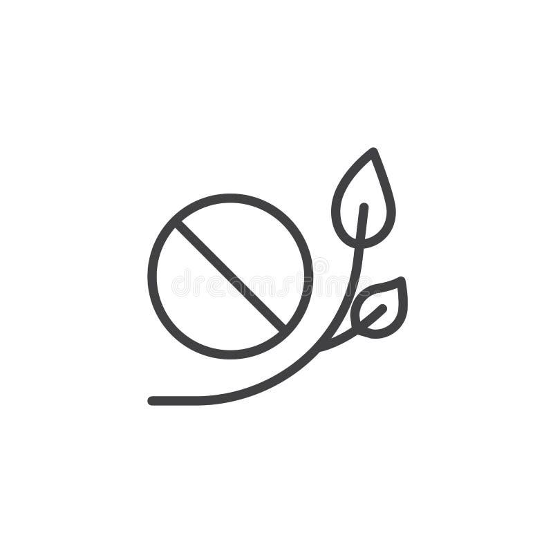 Ícone do esboço da tabuleta e das folhas ilustração royalty free