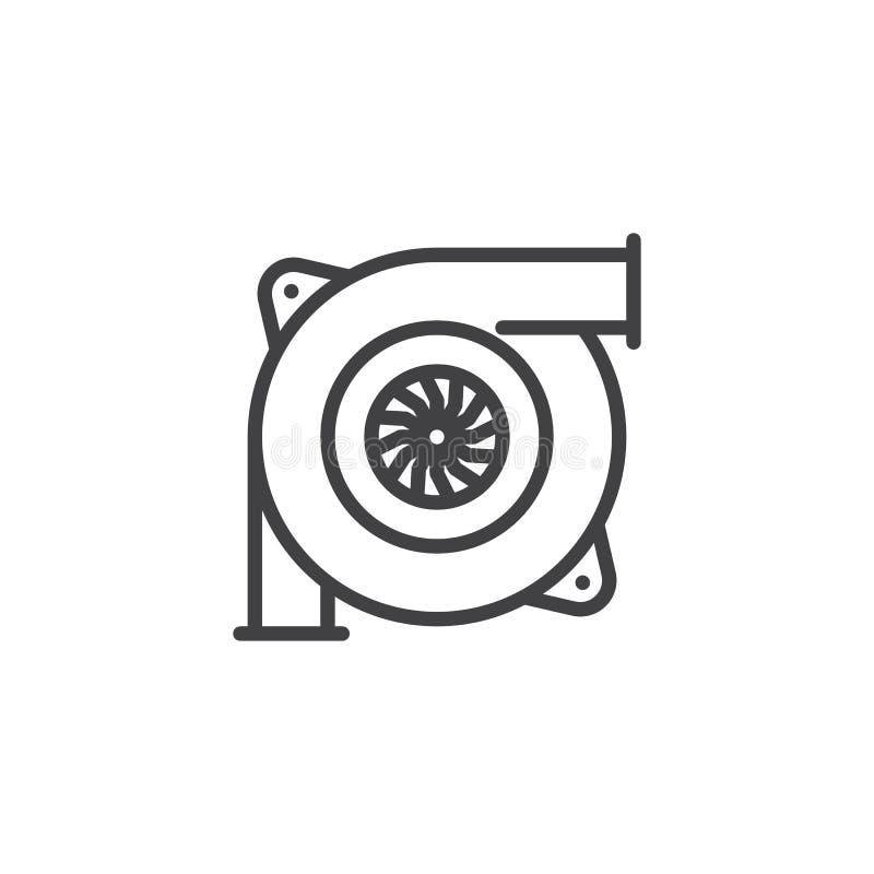 Ícone do esboço da turbina do carro ilustração do vetor