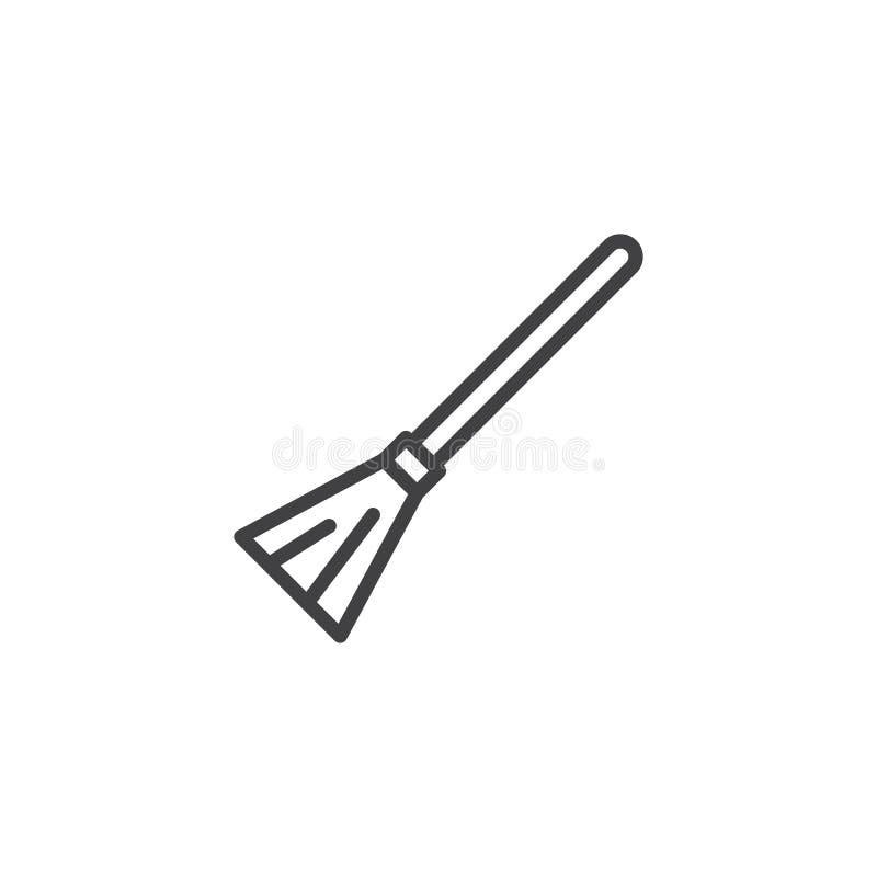 Ícone do esboço da vassoura de bruxa ilustração do vetor