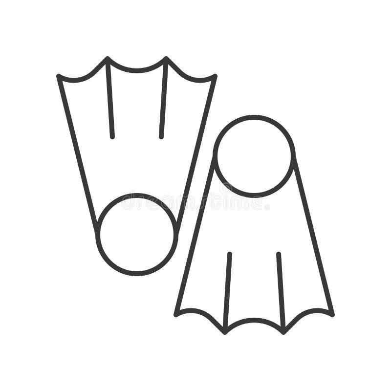Ícone do esboço das aletas do mergulho no fundo branco ilustração royalty free