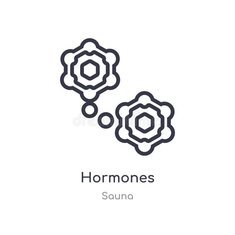 ícone do esboço das hormonas linha isolada ilustra??o do vetor da cole??o da sauna ícone fino editável das hormonas do curso no b ilustração stock