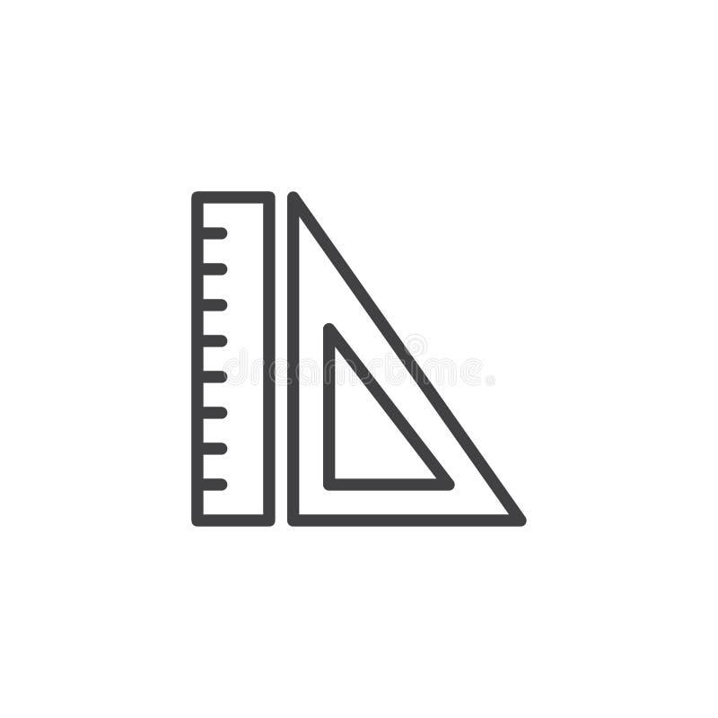 Ícone do esboço das réguas ilustração stock