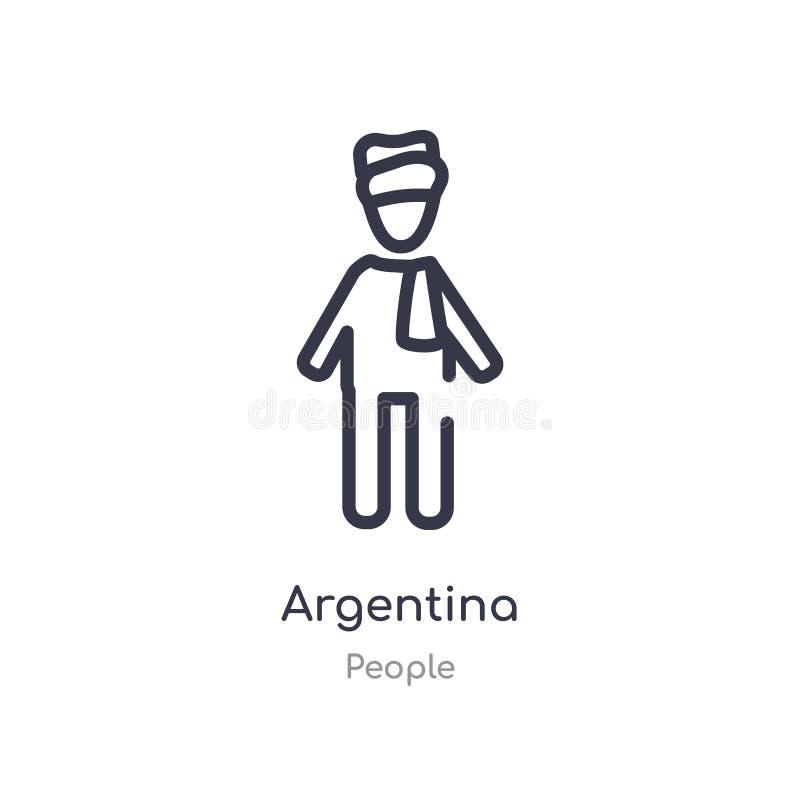 ícone do esboço de Argentina linha isolada ilustra??o do vetor da cole??o dos povos ícone fino editável de Argentina do curso no  ilustração stock