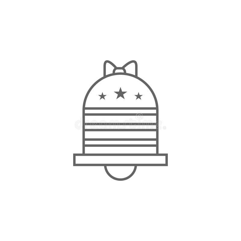 Ícone do esboço de Bell EUA Os sinais e os s?mbolos podem ser usados para a Web, logotipo, app m?vel, UI, UX ilustração royalty free