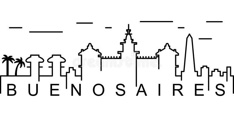 Ícone do esboço de Buenos Aires Pode ser usado para a Web, logotipo, app móvel, UI, UX ilustração royalty free