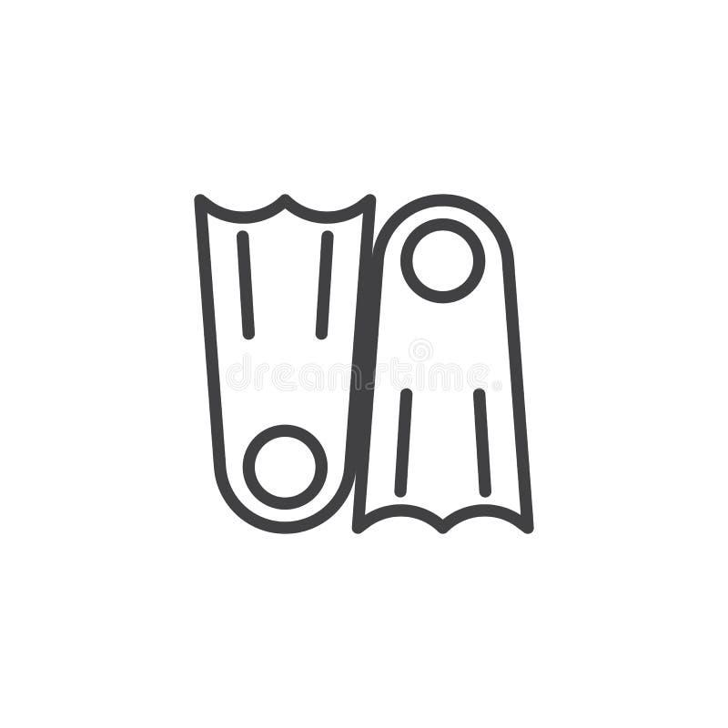 Ícone do esboço de duas aletas ilustração stock