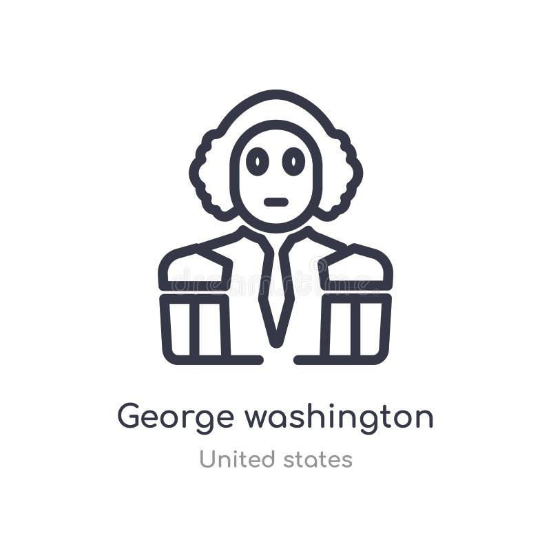 ícone do esboço de George Washington linha isolada ilustra??o do vetor da cole??o de Estados Unidos curso fino editável george ilustração stock