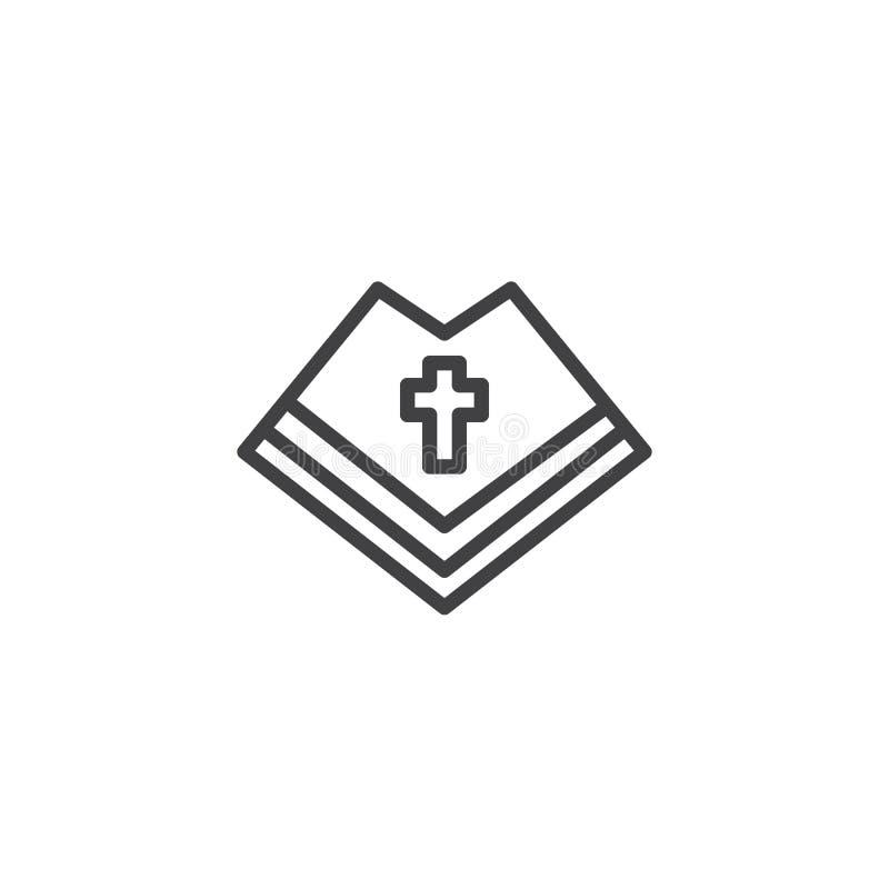 Ícone do esboço de Mantle do sacerdote católico ilustração stock