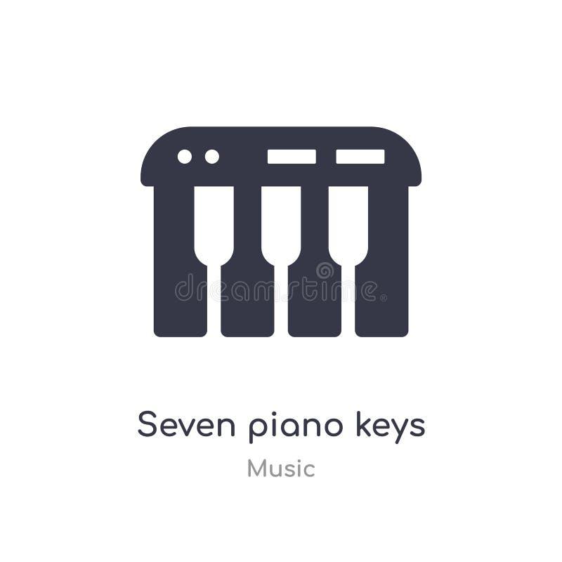 ícone do esboço de sete chaves do piano linha isolada ilustra??o do vetor da cole??o da m?sica ícone fino editável das chaves do  ilustração do vetor