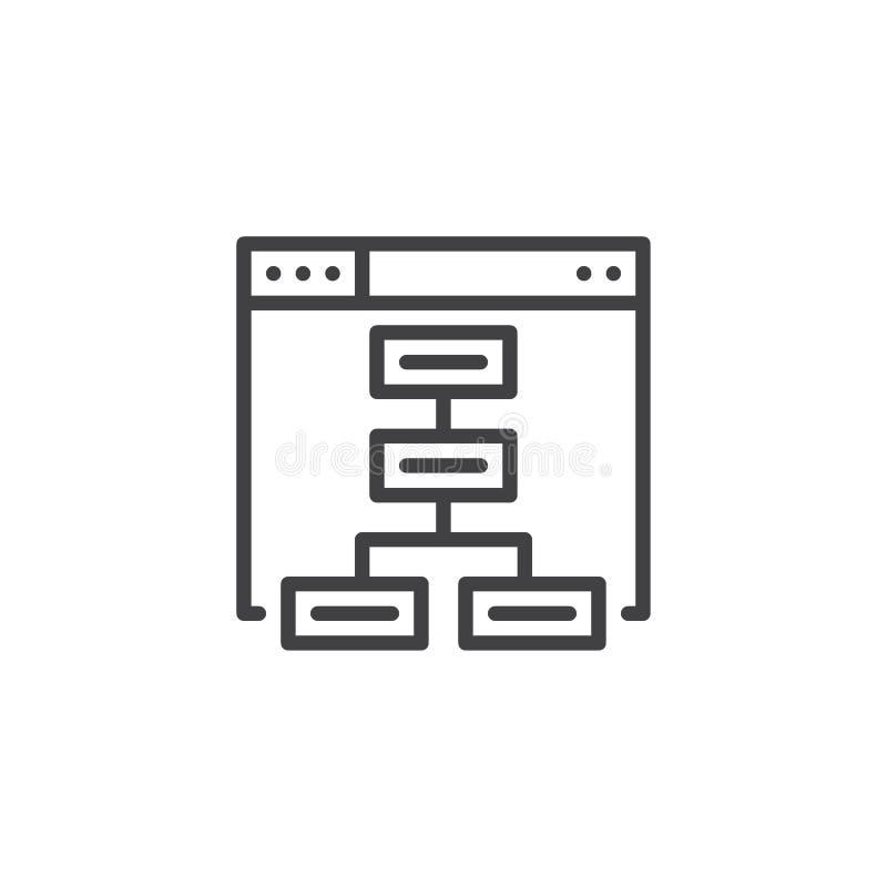 Ícone do esboço de Sitemap ilustração do vetor
