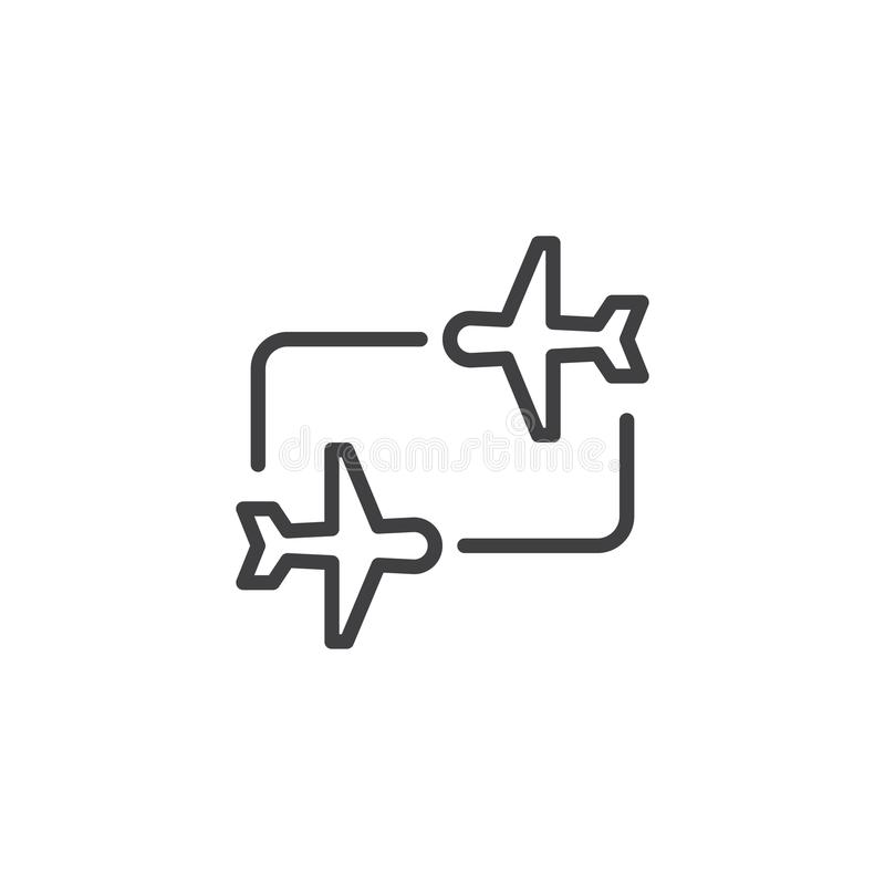 Ícone do esboço de transferência do voo ilustração royalty free