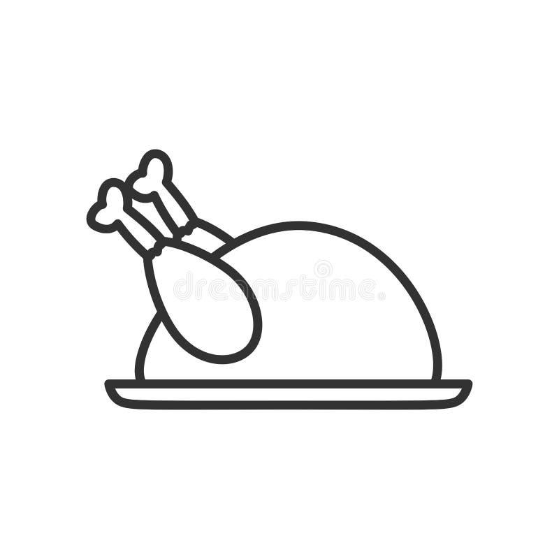 Ícone do esboço de Turquia da ação de graças no branco ilustração royalty free