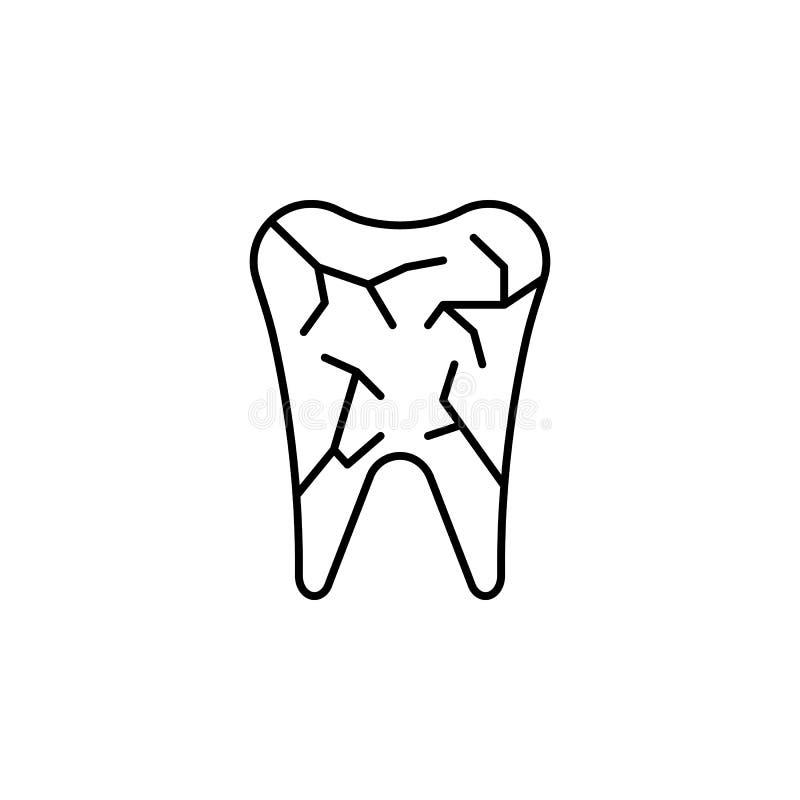 Ícone do esboço do dente do órgão humano Os sinais e os símbolos podem ser usados para a Web, logotipo, app móvel, UI, UX ilustração do vetor