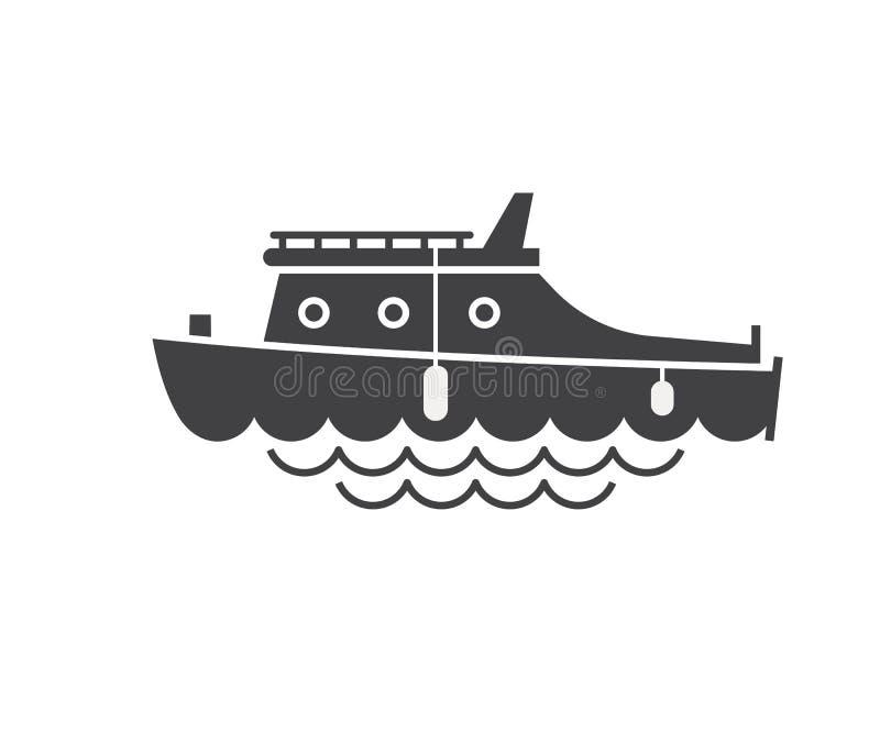 Ícone do esboço do barco da vela ilustração stock