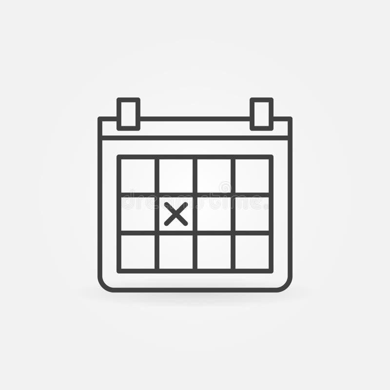 Ícone do esboço do calendário ilustração do vetor