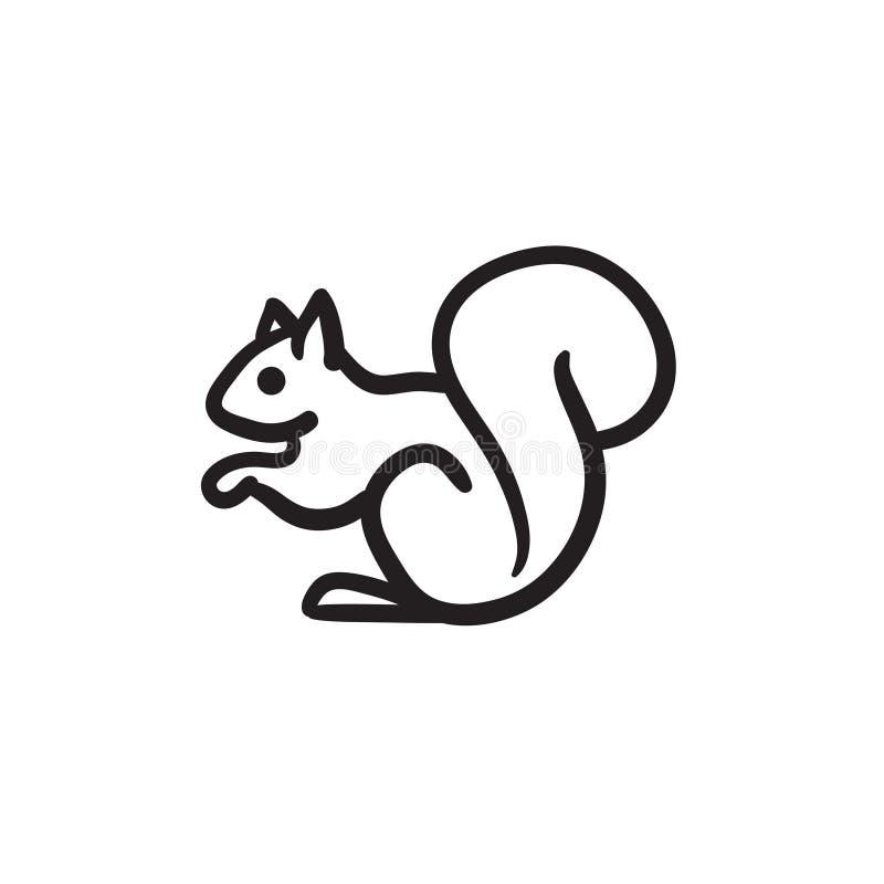 Ícone do esboço do esquilo ilustração stock