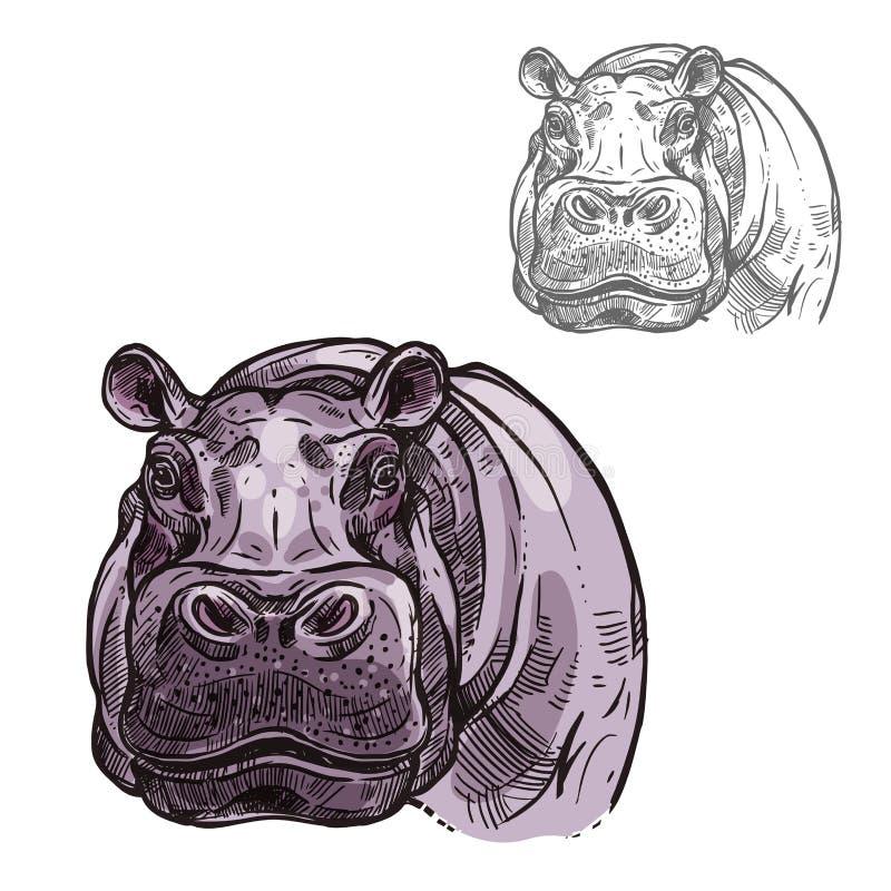 Ícone do esboço do vetor do animal selvagem do hipopótamo do hipopótamo ilustração do vetor