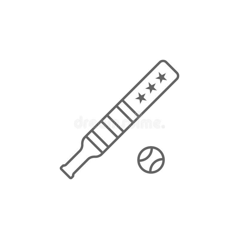 Ícone do esboço dos EUA do basebol Os sinais e os s?mbolos podem ser usados para a Web, logotipo, app m?vel, UI, UX ilustração stock