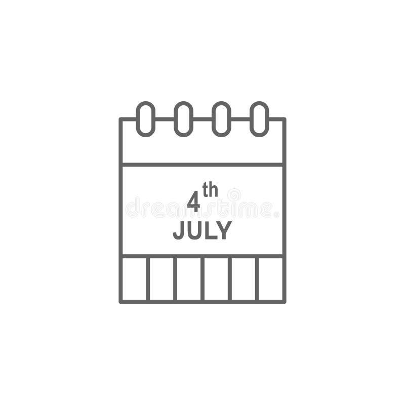 Ícone do esboço dos EUA do calendário Os sinais e os s?mbolos podem ser usados para a Web, logotipo, app m?vel, UI, UX ilustração stock