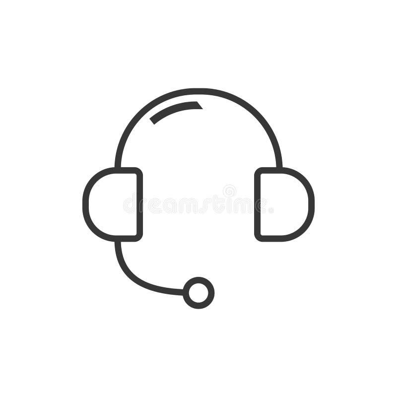Ícone do esboço dos fones de ouvido para o vetor em linha eps10 do apoio Ícone sadio do fones de ouvido Vetor eps10 do sinal do s ilustração royalty free