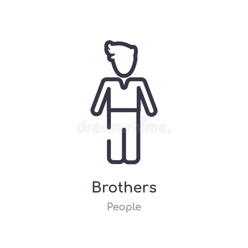 ícone do esboço dos irmãos linha isolada ilustra??o do vetor da cole??o dos povos ícone fino editável dos irmãos do curso no bran ilustração royalty free