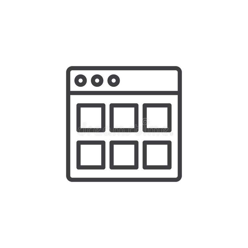 Ícone do esboço dos módulos do Web site ilustração stock