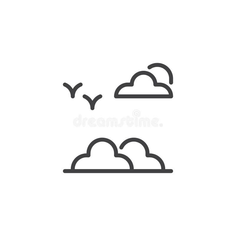 Ícone do esboço dos pássaros e das nuvens ilustração stock