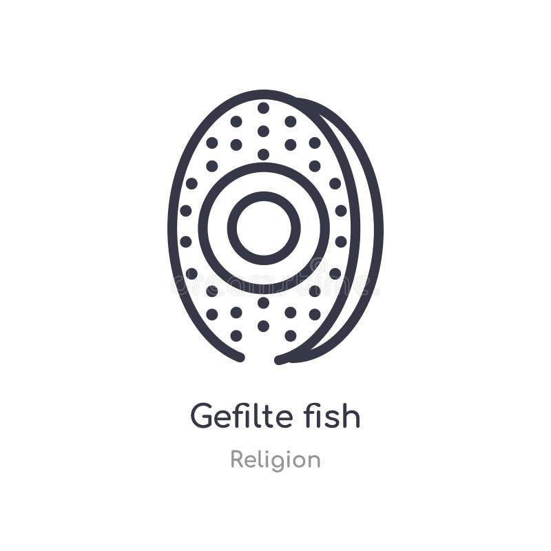 ícone do esboço dos peixes de gefilte linha isolada ilustra??o do vetor da cole??o da religi?o ícone fino editável dos peixes de  ilustração do vetor