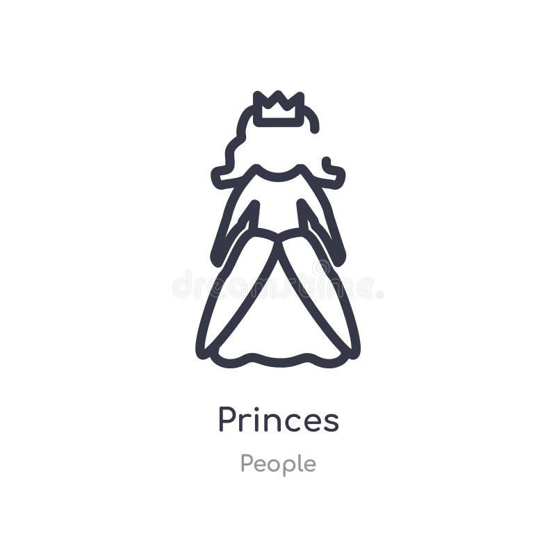 ícone do esboço dos príncipes linha isolada ilustra??o do vetor da cole??o dos povos ícone fino editável dos príncipes do curso n ilustração do vetor