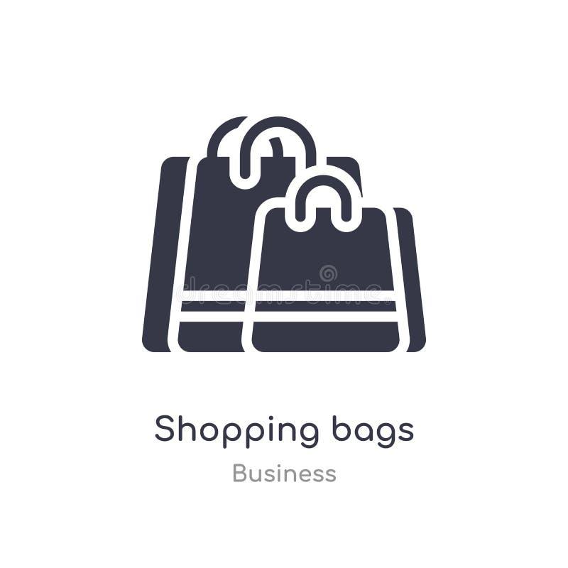 ícone do esboço dos sacos de compras linha isolada ilustra??o do vetor da cole??o do neg?cio ícone fino editável dos sacos de com ilustração do vetor