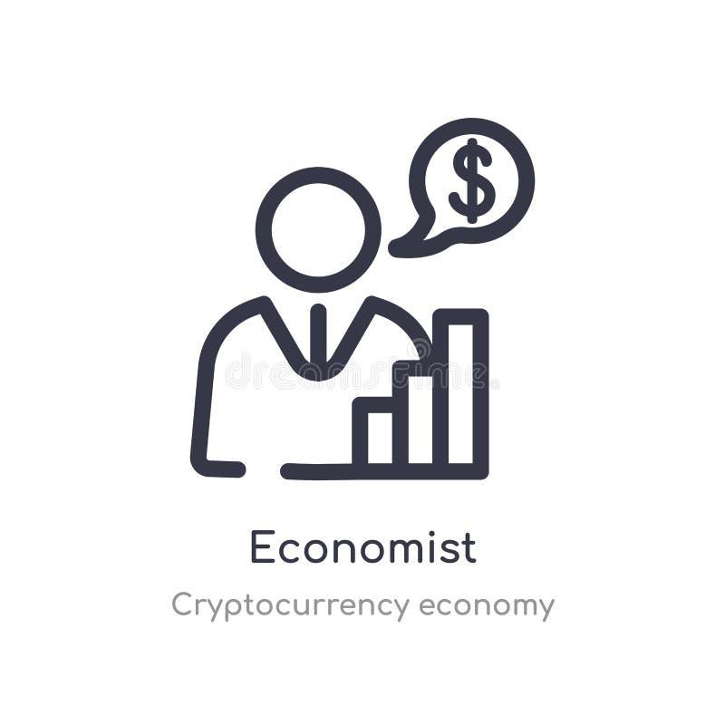 ícone do esboço do economista linha isolada ilustra??o do vetor da cole??o da economia do cryptocurrency economista fino editável ilustração stock