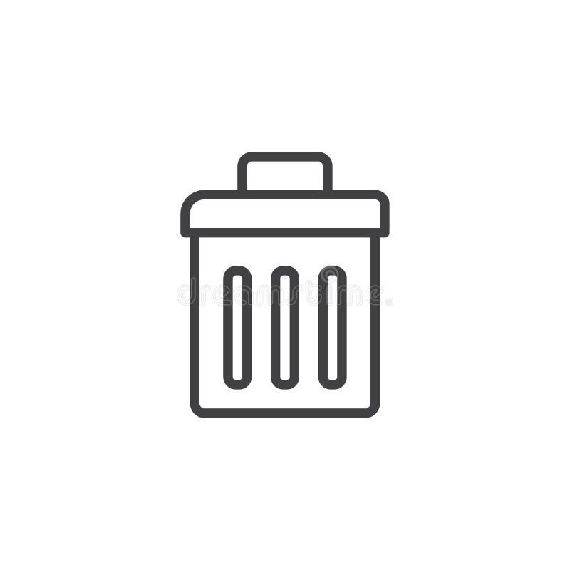 Ícone do esboço do escaninho de lixo ilustração royalty free