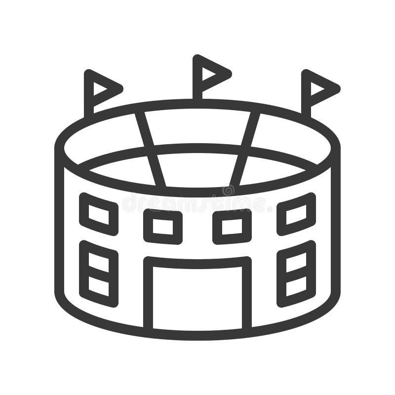 Ícone do esboço do estádio, isolado no fundo branco ilustração do vetor