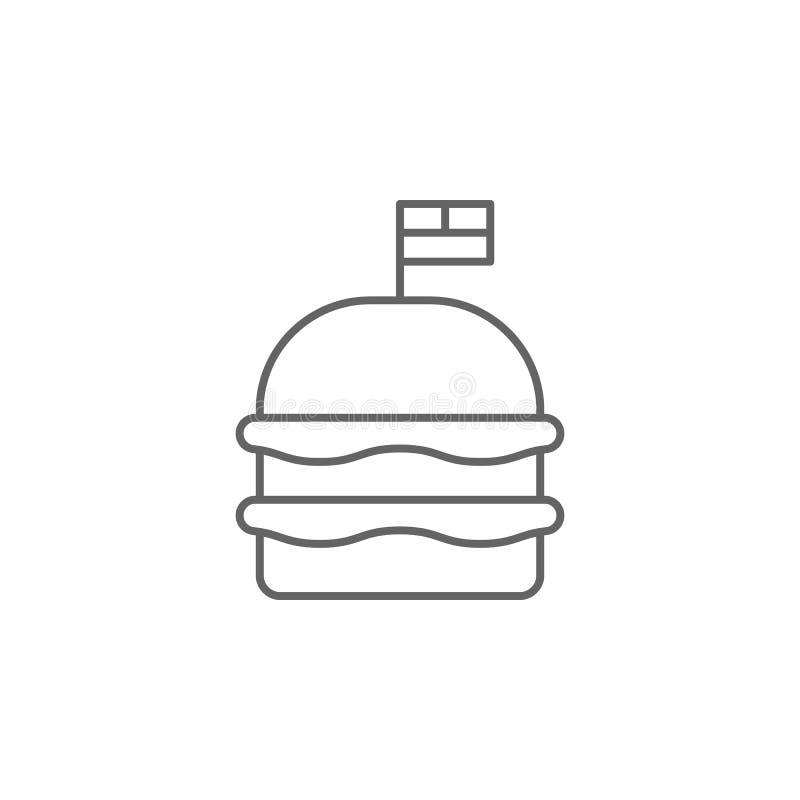 ícone do esboço do fast food da bandeira do Hamburger Elementos do ícone da ilustração do Dia da Independência Os sinais e os s?m ilustração stock