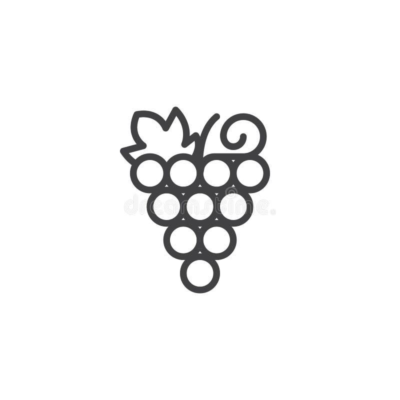 Ícone do esboço do grupo das uvas ilustração stock