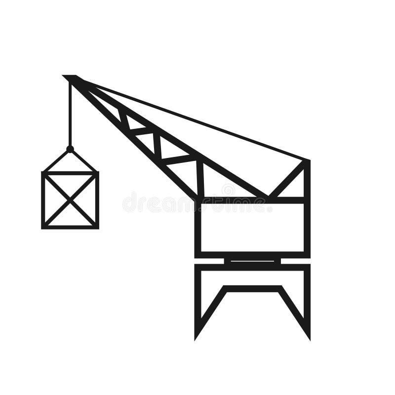 Ícone do esboço do guindaste do porto ilustração stock