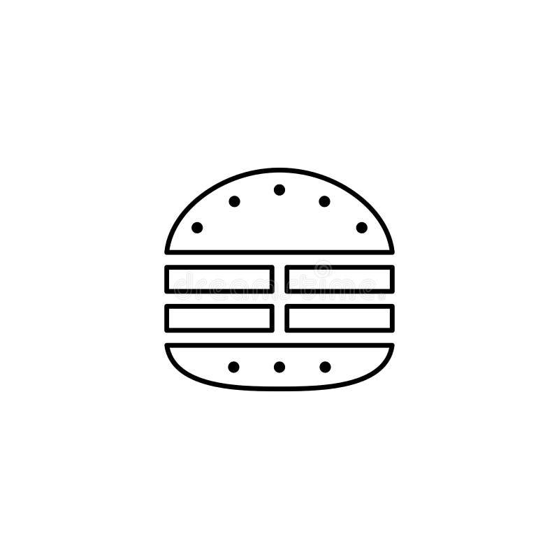Ícone do esboço do hamburguer da carne ilustração royalty free