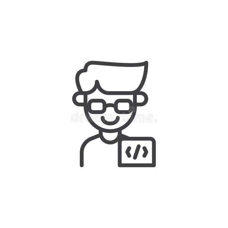 Ícone do esboço do homem do programador ilustração stock