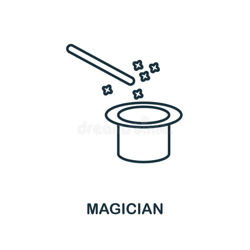 Ícone do esboço do mágico Ilustração simples do elemento Projeto do símbolo do ícone do mágico da coleção do esboço do ícone do p ilustração stock