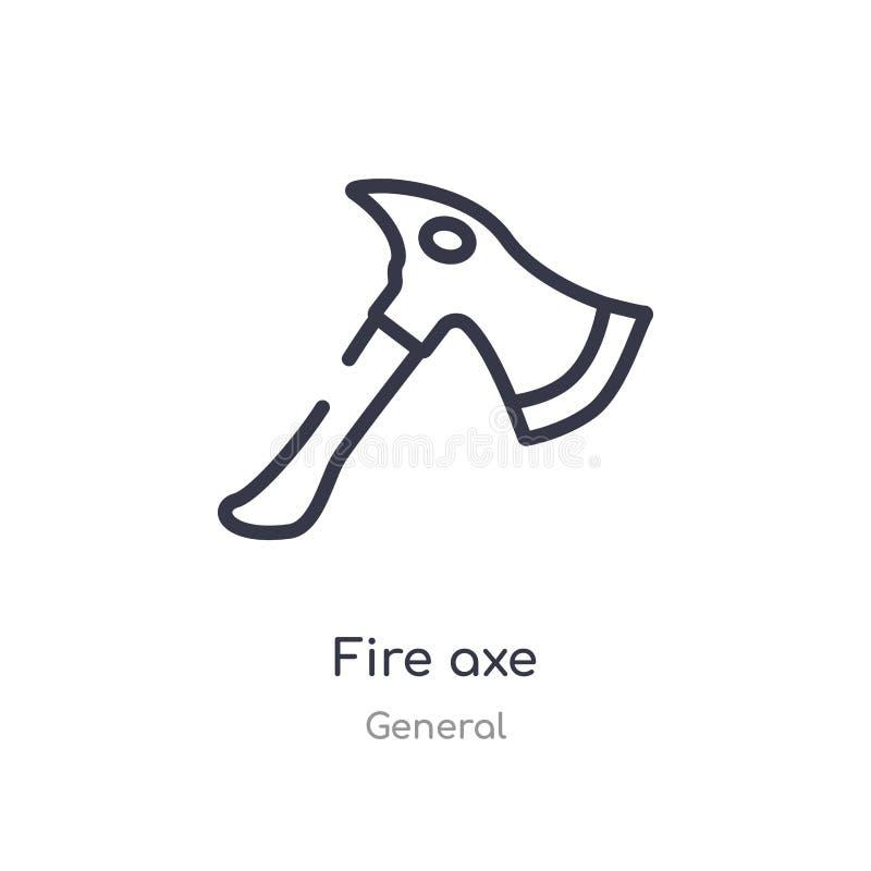 ícone do esboço do machado do fogo linha isolada ilustra??o do vetor da cole??o geral ícone fino editável do machado do fogo do c ilustração royalty free