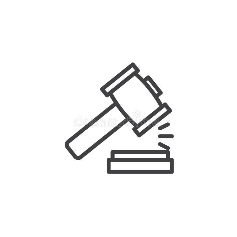 Ícone do esboço do martelo da lei ilustração royalty free