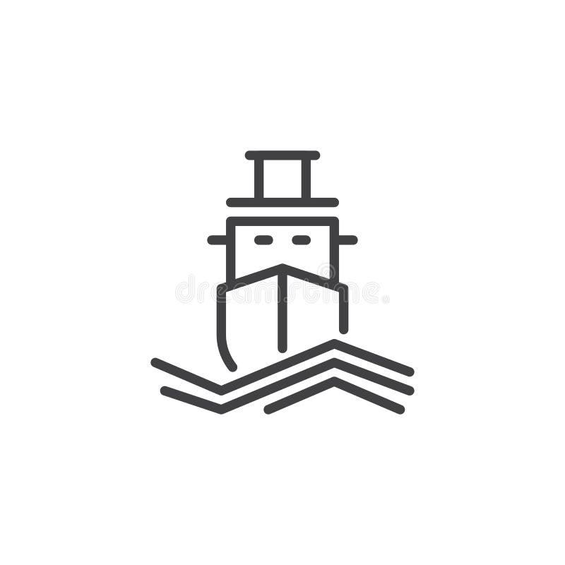 Ícone do esboço do navio de cruzeiros ilustração do vetor