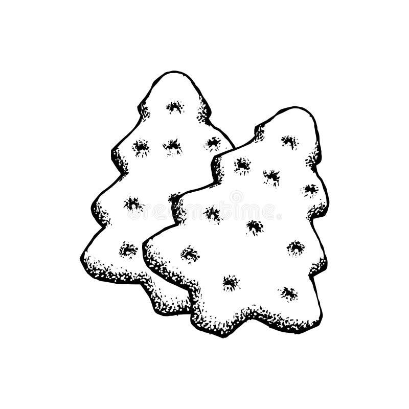Ícone do esboço do pão-de-espécie Ilustração de Ginger Cookie Isolated Vintage Vetora da árvore de Natal ilustração stock