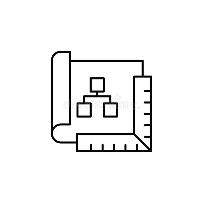 Ícone do esboço do plano da robótica Os sinais e os símbolos podem ser usados para a Web, logotipo, app móvel, UI, UX ilustração royalty free
